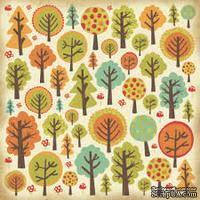 Лист скрапбумаги от Kaisercraft c глянцевыми элементами - Лес - Forest, 30,5х30,5 см
