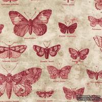 Ткань 100% хлопок - Tim Holtz Eclectic - Butterflies-Red, 45х55 см - ScrapUA.com