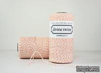 Хлопковый шнур от Divine Twine - Cotton Peach, 1 мм, цвет персиковый/белый, 1м