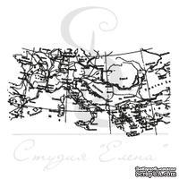 Штамп от Питерского Скрапклуба - Карта С Меридианами