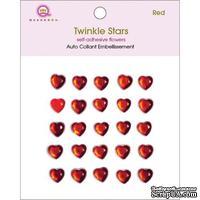Половинки кристаллов на клеевой основе Queen & Co - Twinkle Self-Adhesive Embellishments Hearts/Red