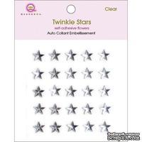 Половинки кристаллов на клеевой основе Queen & Co - Twinkle Self-Adhesive Embellishments Stars/Clear