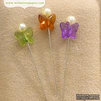 Декоративные булавки Webster's Pages - Butterfly Pins, цвет желтый, зеленый, сереневый, 3 шт.