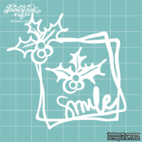 "Чипборд от Вензелик - Рамка + веточка ""Smile"", размер: 76x74 мм"