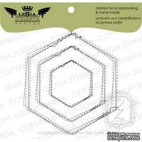 Набор акриловых штампов Lesia Zgharda R043 Рамка-дудлинг шестиугольник прошитый, 3 шт.