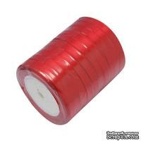 Ленточка атласная  Red, 10мм, цвет красный, 90 см