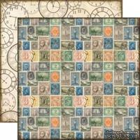Лист двусторонней бумаги от Echo Park-Simple Stamps - Марки, Часы