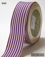 Лента от May Arts - Grosgrain Ivory Striped Ribbon, PURPLE/IVORY, 3,8 см, 90 см