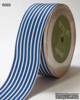 ЛентаROYAL BLUE/IVORY STRIPES, цвет голубой/бежевый, ширина 3,8см, длина 90 см - ScrapUA.com