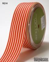 ЛентаRED/IVORY STRIPES, цвет красный/бежевый, ширина 3,8см, длина 90 см
