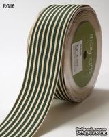 Лента Ggrain/ivory Stripes, цвет зеленый/белый, ширина 38 мм, длина 90 см