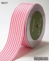 Лента PINK/WHITE STRIPES, цвет розовый/белый, RG-5-17, ширина 3,8см, длина 90 см