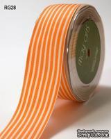 Лента ORANGE/IVORY STRIPES, цвет оранжевый/бежевый, RG-5-28, ширина 3,8см, длина 90 см