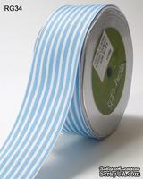 Лента LIGHT BLUE/WHITE STRIPES, цвет голубой светлый/белый, ширина 3,8см, длина 90 см