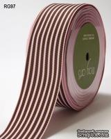 ЛентаPINK/BROWN STRIPES, цвет розовый/коричневый, RG-5-97, ширина 3,8см, длина 90 см