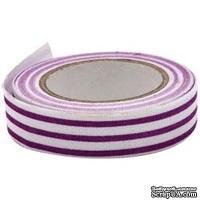 Тканевая клеевая лента Fabscraps - Purple & White Stripe