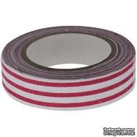 Тканевая клеевая лента Fabscraps - Light Burgundy & White Stripe