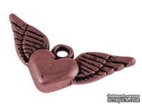 """Металлическое украшение """"Сердце"""", красная медь, размер 13х25 мм, 1 шт"""