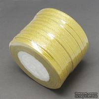 Ленточка металлизированная двусторонняя, ширина 6мм, цвет золото, 90см