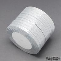 Ленточка металлизированная двусторонняя, ширина 6мм, цвет серебро, 90см