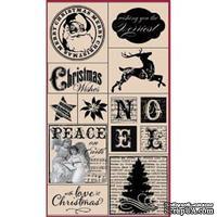 Набор резиновых штампов Hampton Art - Peace on Earth, на деревянном блоке, 10 штук - ScrapUA.com