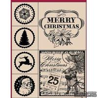 Набор резиновых штампов Hampton Art - Merry Christmas, на деревянном блоке, 6 штук