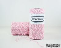 Хлопковый шнур от Divine Twine - Raspberry, 1 мм, цвет розово-белый, 1м
