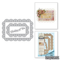 Ножи от Spellbinders - Shapeabilities Thinking of You Scalloped Rectangle Etched Dies Thoughtful Expressions by Marisa Job