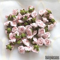 Головки розы, цвет розовый, 17 мм, без ножки, 1 штука