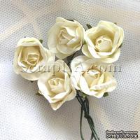 Розочка, цвет белый (слоновая кость), 23 мм, 1 штука