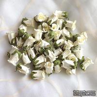 Бутон розы, цвет белый (слоновая кость), 15х23 мм, без ножки, 1 штука