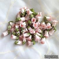 Бутон розы, цвет розовый, 15х23 мм, без ножки, 1 штука