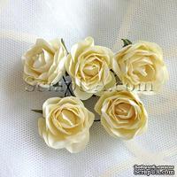 Розочка, цвет белый (слоновая кость), 32 мм, 1 штука