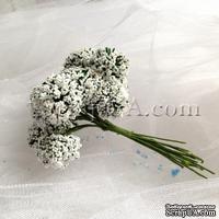 Веточки декоративные с соцветиями-шариками, цвет белый, пучок из 12 штук