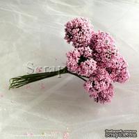 Веточки декоративные с соцветиями-шариками, цвет розовый, пучок из 12 штук