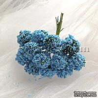 Веточки декоративные с соцветиями-шариками, цвет голубой, пучок из 12 штук