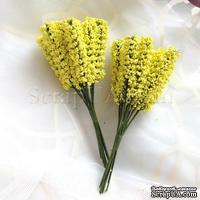 Веточки декоративные, цвет лимонный, 1 пучок из 10 штук