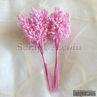 Веточки декоративные с цветными стебельками, цвет розовый, 1 пучок из 8 штук