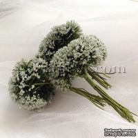 Веточки декоративные с соцветиями-шариками в сахарной присыпке, цвет белый, пучок из 12 штук