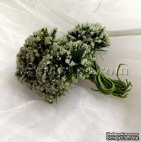 Веточки декоративные с соцветиями-шариками в сахарной присыпке, цвет кремовый, пучок из 12 штук
