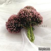 Веточки декоративные с соцветиями-шариками в сахарной присыпке, цвет розовый, пучок из 12 штук