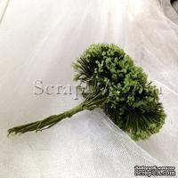Веточки декоративные с соцветиями-шариками в сахарной присыпке, цвет зеленый, пучок из 12 штук