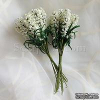 Веточки декоративные с листиками, цвет кремово-белый, 1 пучок из 10 штук