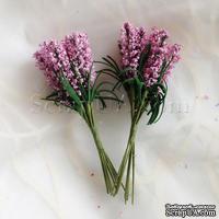 Веточки декоративные с листиками, цвет розовый, 1 пучок из 10 штук