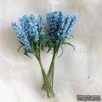 Веточки декоративные с листиками, цвет голубой, 1 пучок из 10 штук