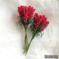 Веточки декоративные с листиками, цвет красный, 1 пучок из 10 штук