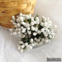 Веточки декоративные с мини-ягодками в сахаре, цвет белый, пучок из 12 штук