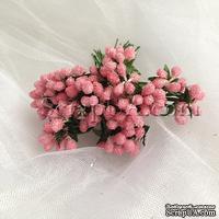 Веточки декоративные с мини-ягодками в сахаре, цвет розовый, пучок из 12 штук