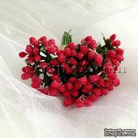 Веточки декоративные с мини-ягодками в сахаре, цвет красный, пучок из 12 штук