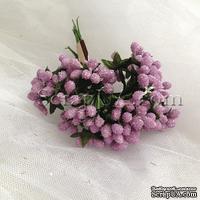 Веточки декоративные с мини-ягодками в сахаре, цвет сиреневый, пучок из 12 штук